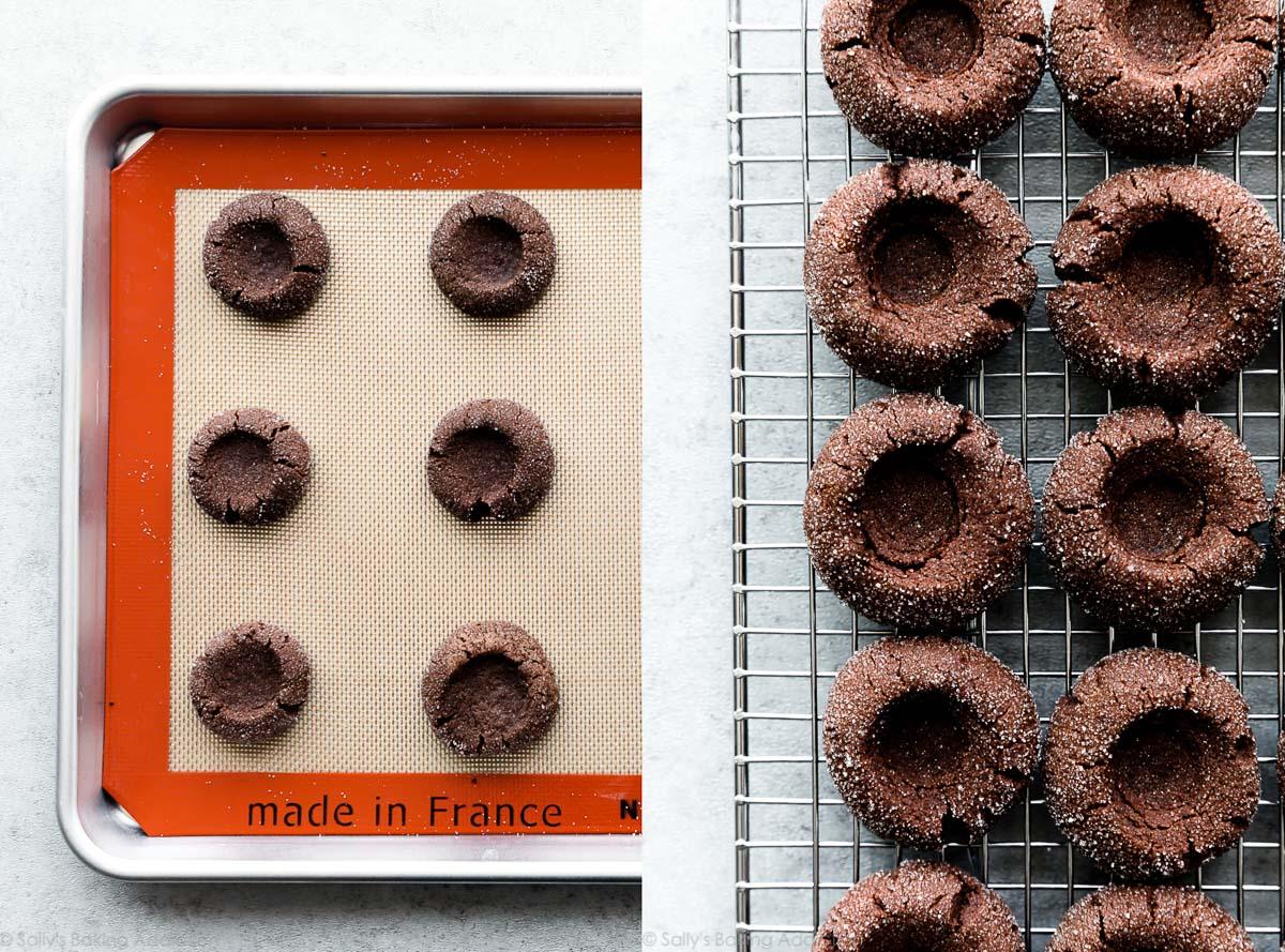 biscuits au chocolat avec empreinte digitale après la cuisson