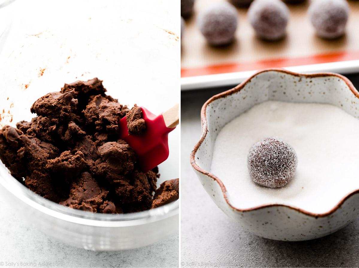 pâte à biscuits au chocolat roulée dans du sucre