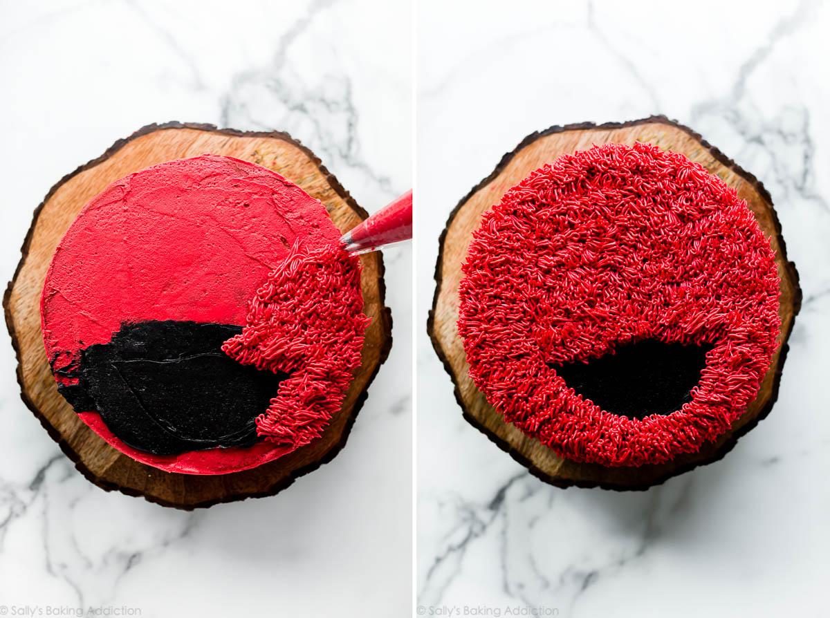 La fourrure glaçante d'Elmo sur un gâteau