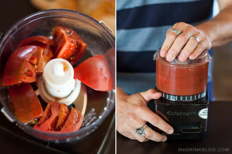 mélanger les tomates au robot culinaire