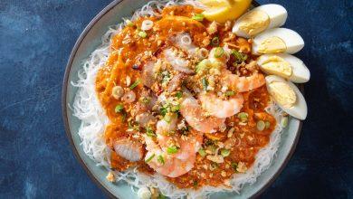 Photo of Recette de Pancit Palabok (nouilles philippines au porc fumé et sauce aux fruits de mer)