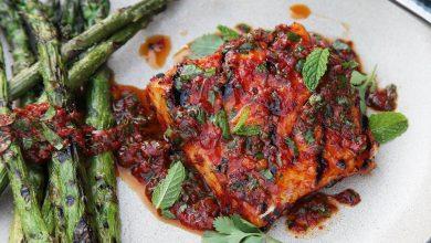 Photo of Recette de flétan grillé au cari rouge et vinaigrette au curry