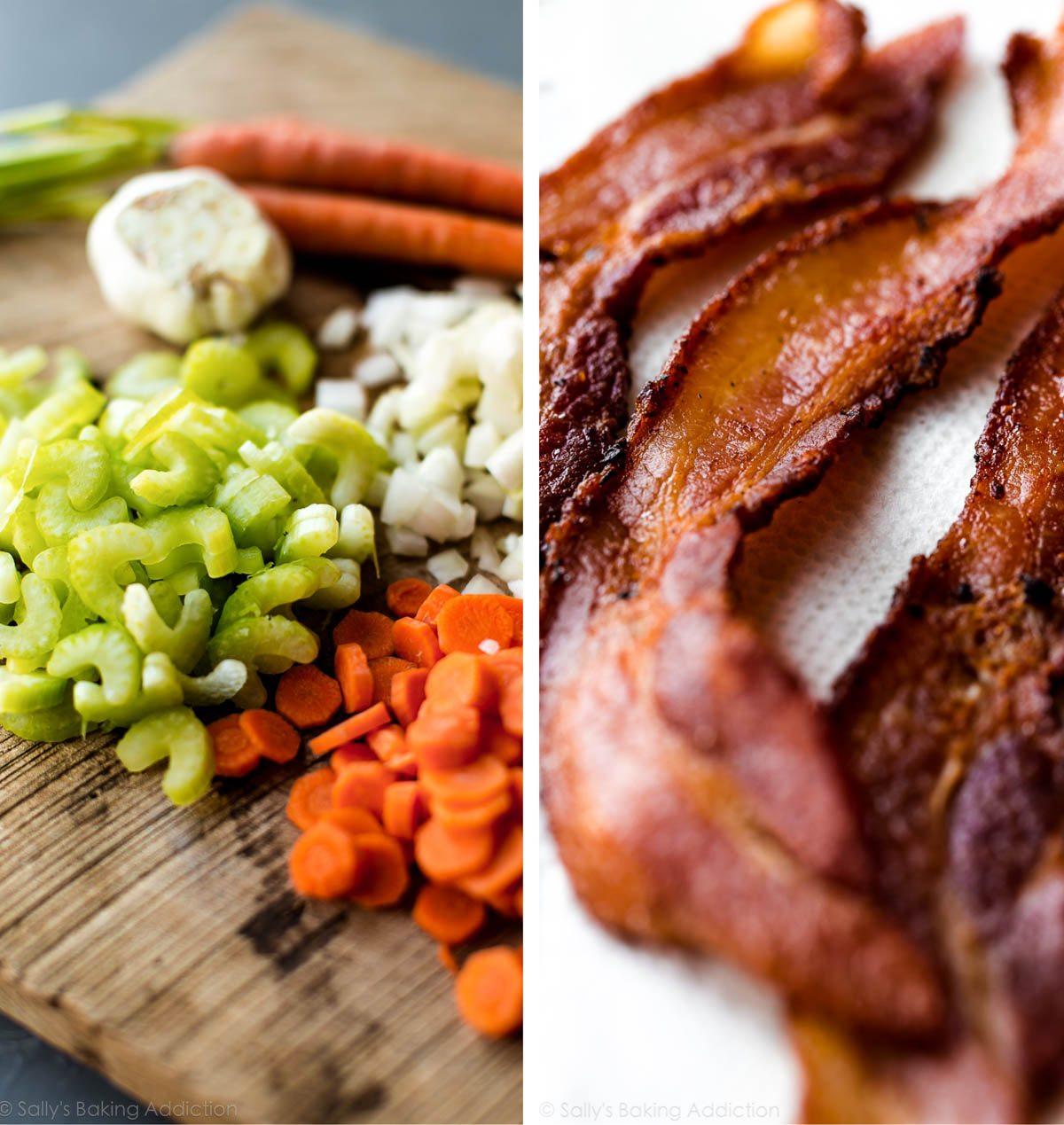 2 images de céleri, de carottes et d'oignons hachés sur une planche à découper en bois et des lanières de bacon cuit