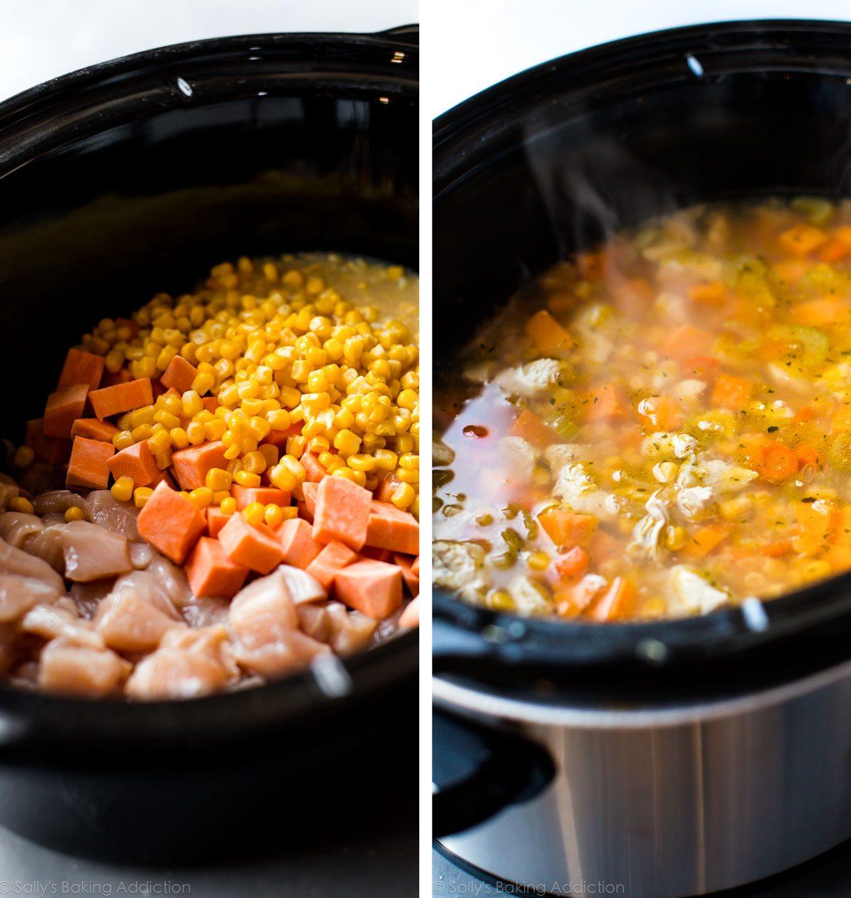 2 images d'ingrédients dans une mijoteuse avant la cuisson et chaudrée dans la mijoteuse