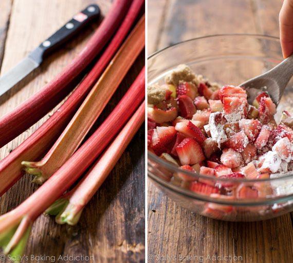 Tarte aux fraises et à la rhubarbe sur sallysbakingaddiction.com