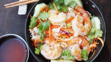 Photo of Recette de bol de nouilles de riz à la poêle avec crevettes et légumes