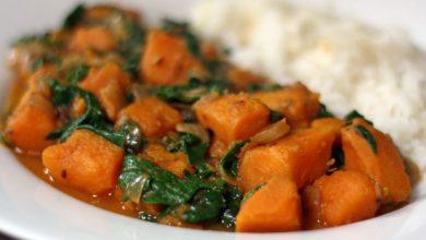 Photo of Recette de curry de patates douces et d'épinards