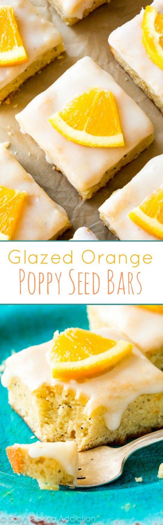 Les barres de graines de pavot orange glacées inciteront tout le monde à demander la recette! Le glaçage à l'orange douce est incroyable!