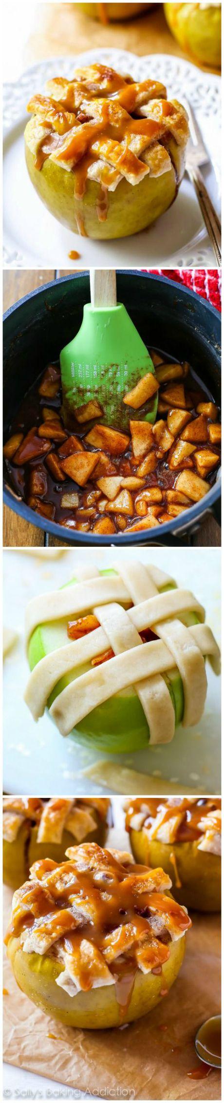 Une de mes choses préférées à faire à l'automne! Tarte aux pommes cuite dans des pommes avec une croûte en treillis sur le dessus. Délicieux et amusant!