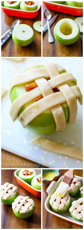 Apple Pie Baked Apples par sallysbakingaddiction.com. Tout ce que vous aimez dans la tarte aux pommes - la garniture gluante à la cannelle, les pommes chaudes, la croûte de tarte maison au beurre - le tout cuit dans une pomme.