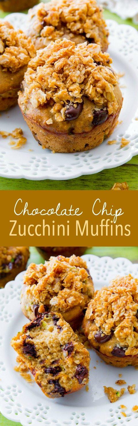 Les muffins aux courgettes aux pépites de chocolat sont mon go-to en été!