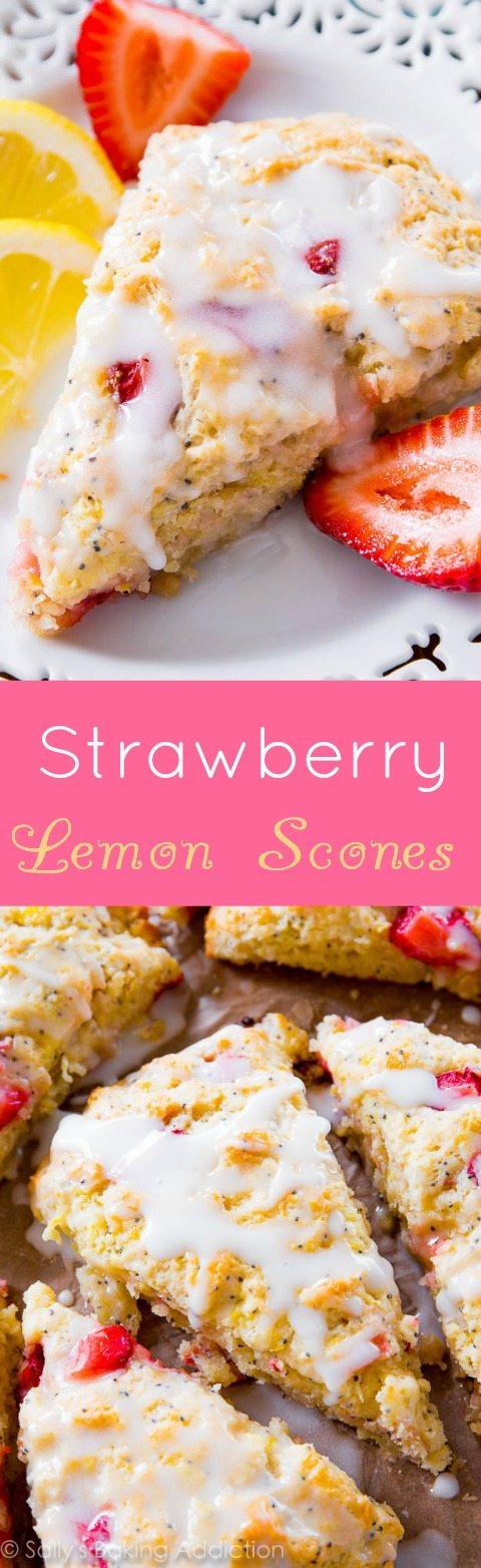 Scones aux graines de pavot et fraise citron