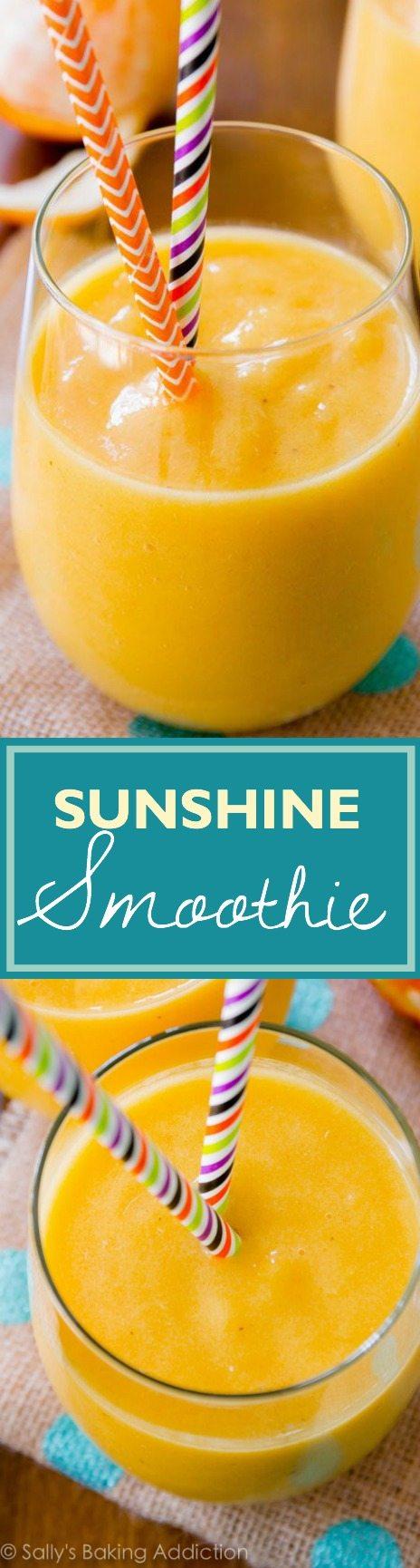 Sunshine Smoothie - ce smoothie lumineux, gai et sain est plein de vitamine C et vous dynamisera pour affronter la nouvelle journée. J'aime cela!