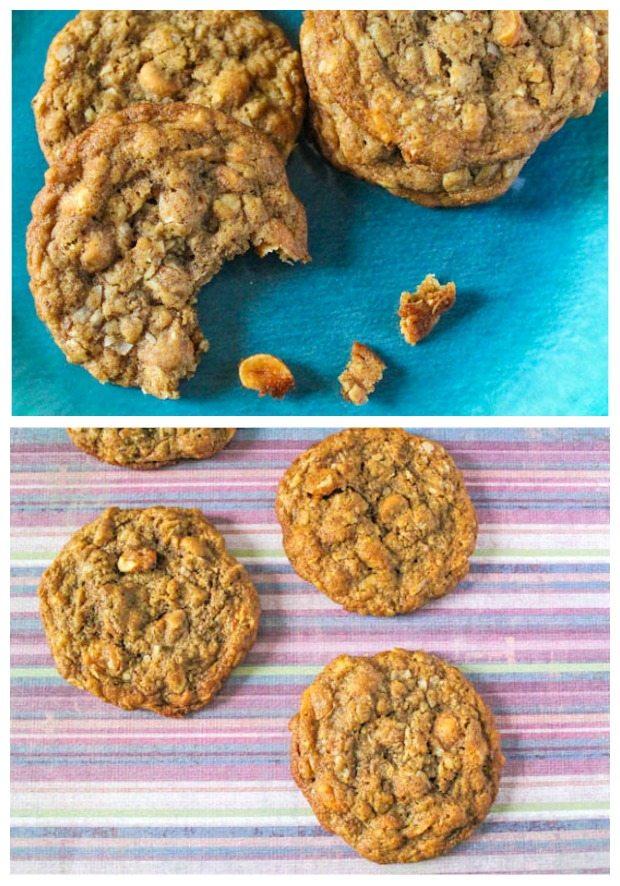 Scotchies au beurre d'avoine rôti au miel. Ces biscuits sont si faciles à préparer et sont emballés avec des ingrédients bons pour vous comme la farine de blé entier, l'avoine, le lin, le beurre d'arachide et la noix de coco. De plus, beaucoup de caramel!
