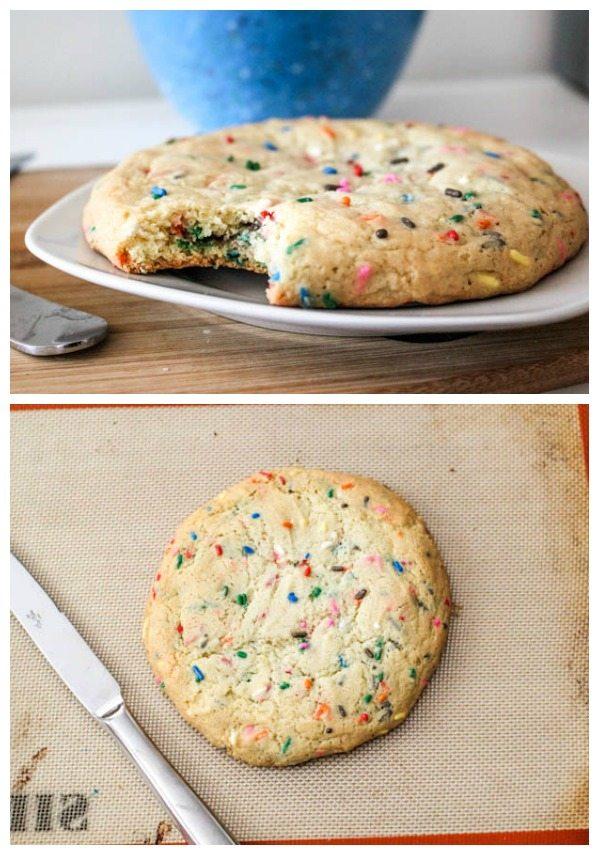 deux photos d'un biscuit au sucre saupoudré géant