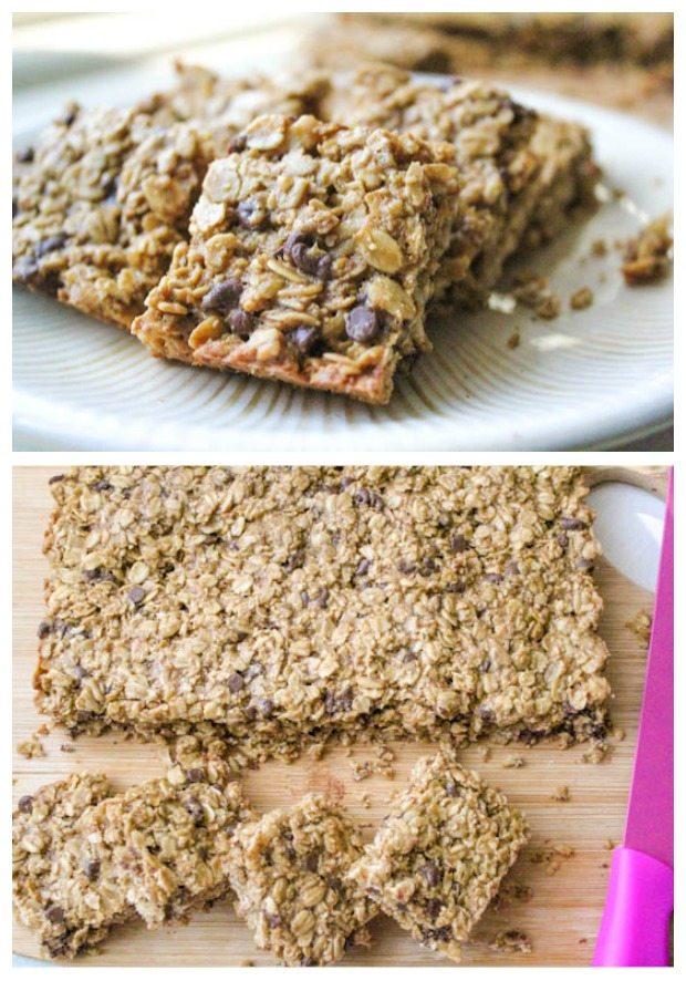 deux images de barres granola à puce chocolat
