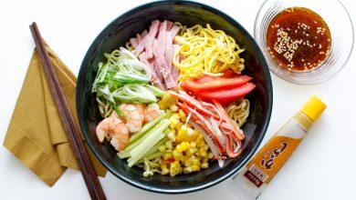 Photo of Recette Hiyashi Chuka (Ramen froid) aux crevettes, jambon et légumes