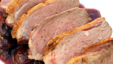 Photo of Recette de Poitrines de canard sucrées avec sauce aux cerises fraîches