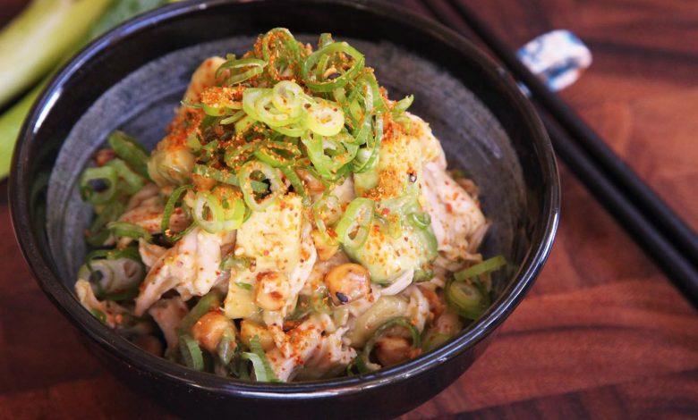 Photo of Salade de poulet avec avocat, maïs et sauce miso recette