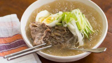 Photo of Soupe de nouilles coréennes froides avec poire asiatique et concombre (Mul Naengmyun) Recette