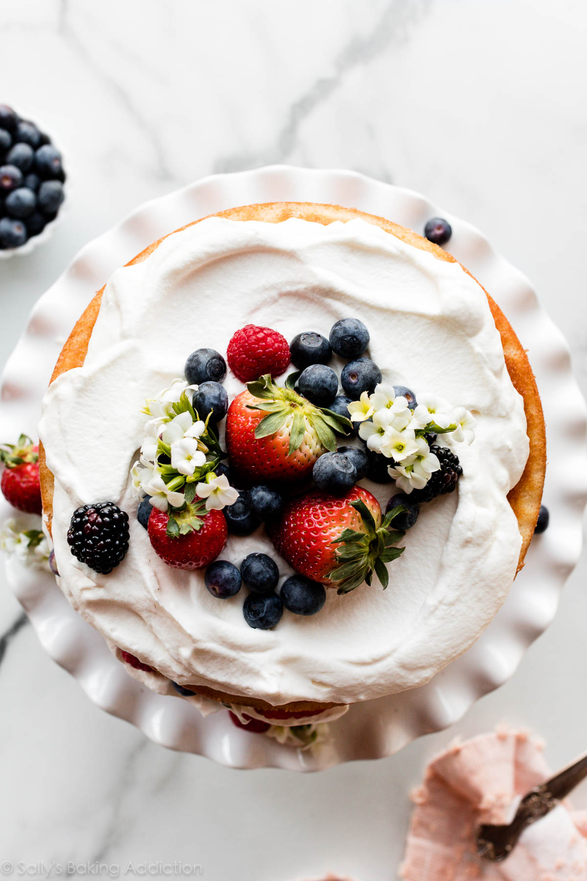 dessus du gâteau fouetté de crème de baie fraîche