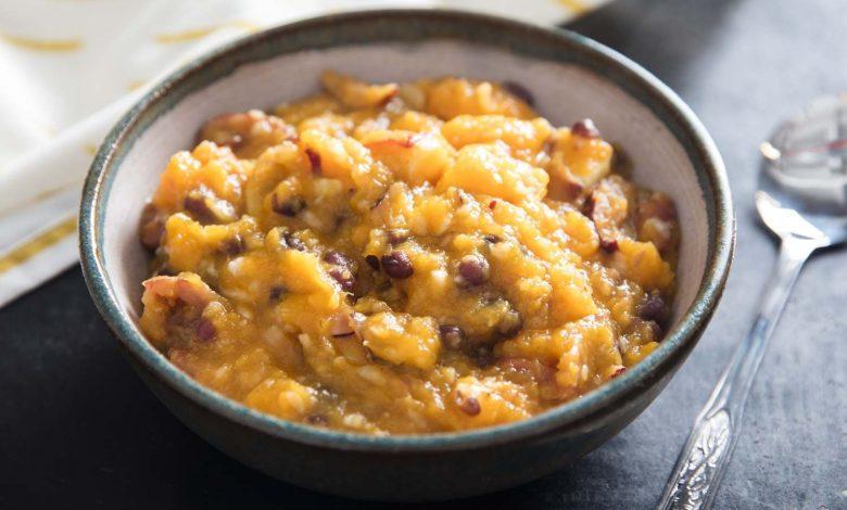Photo of Hobak Beombeok (bouillie de courge coréenne, patates douces et haricots)