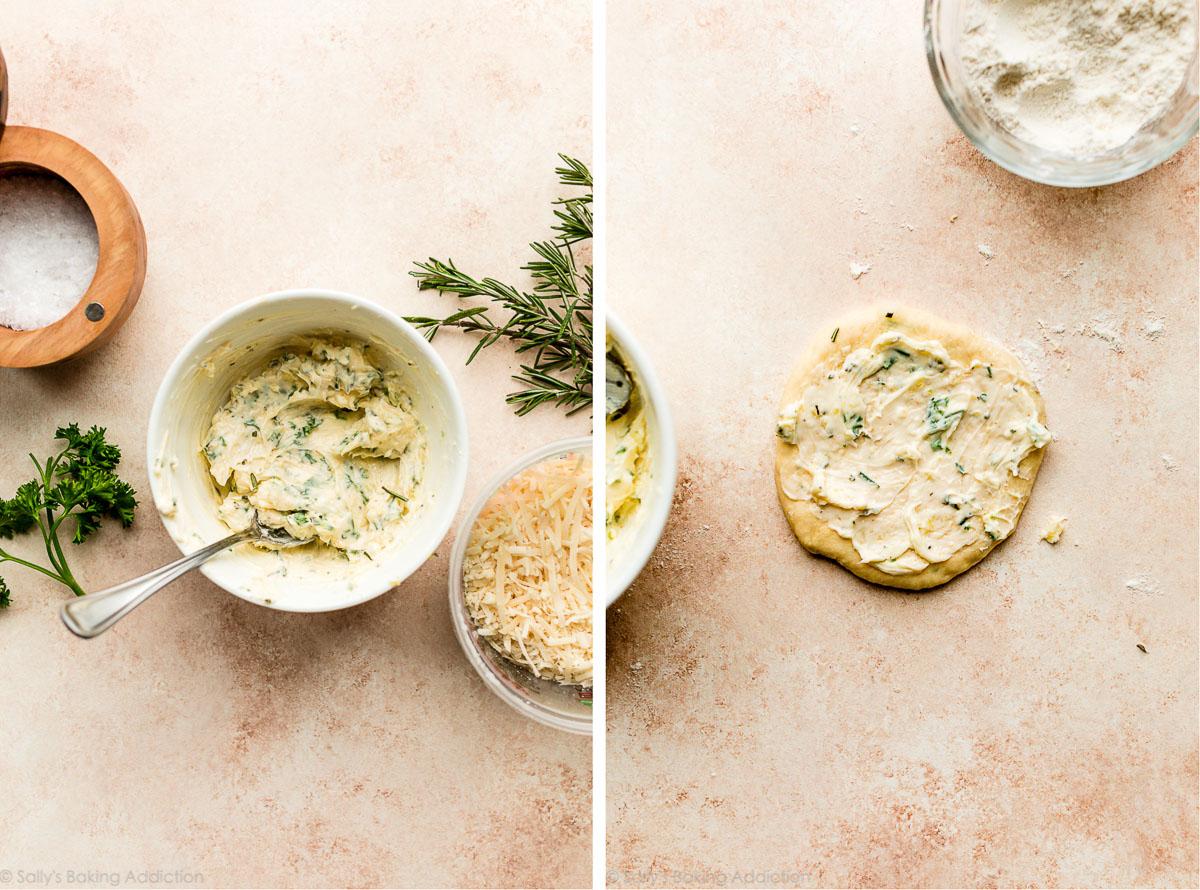 garniture de beurre dans un bol et sur un morceau de pâte rond