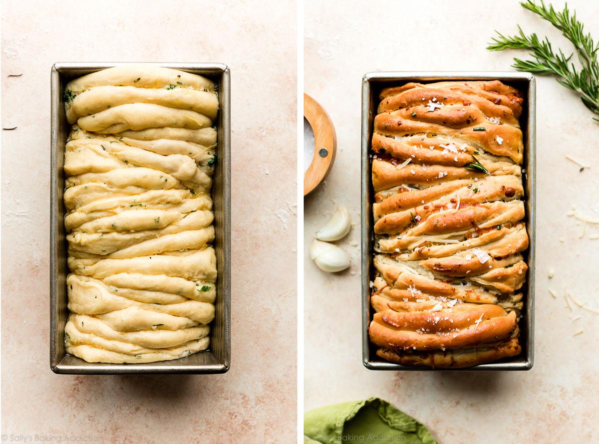 photo côte à côte du pain séparé avant la cuisson et après la cuisson