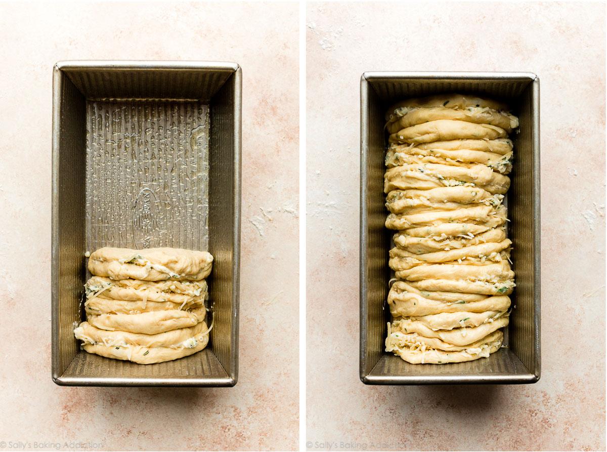 rondelles de pâte tapissées dans un moule à pain