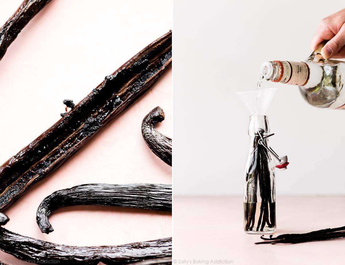 2 images de gousses de vanille et verser de la vodka dans des bouteilles en verre avec des gousses de vanille