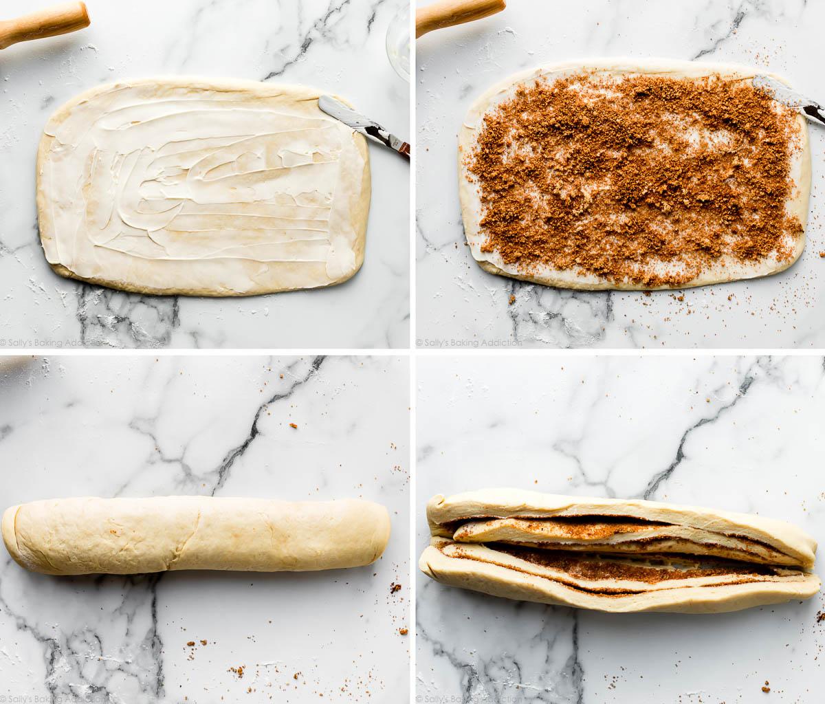 4 photos montrant les étapes de mise en forme du pain torsadé à la cannelle