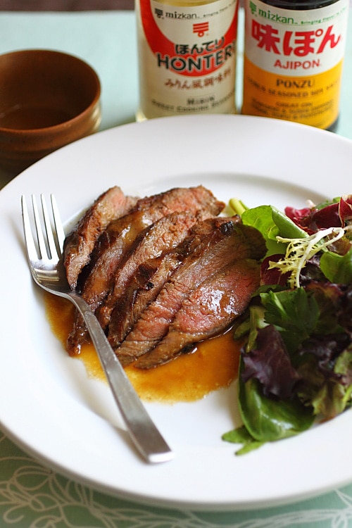 Recette de bifteck de flanc avec marinade de bifteck de flanc au miso, beurre et ponzu.