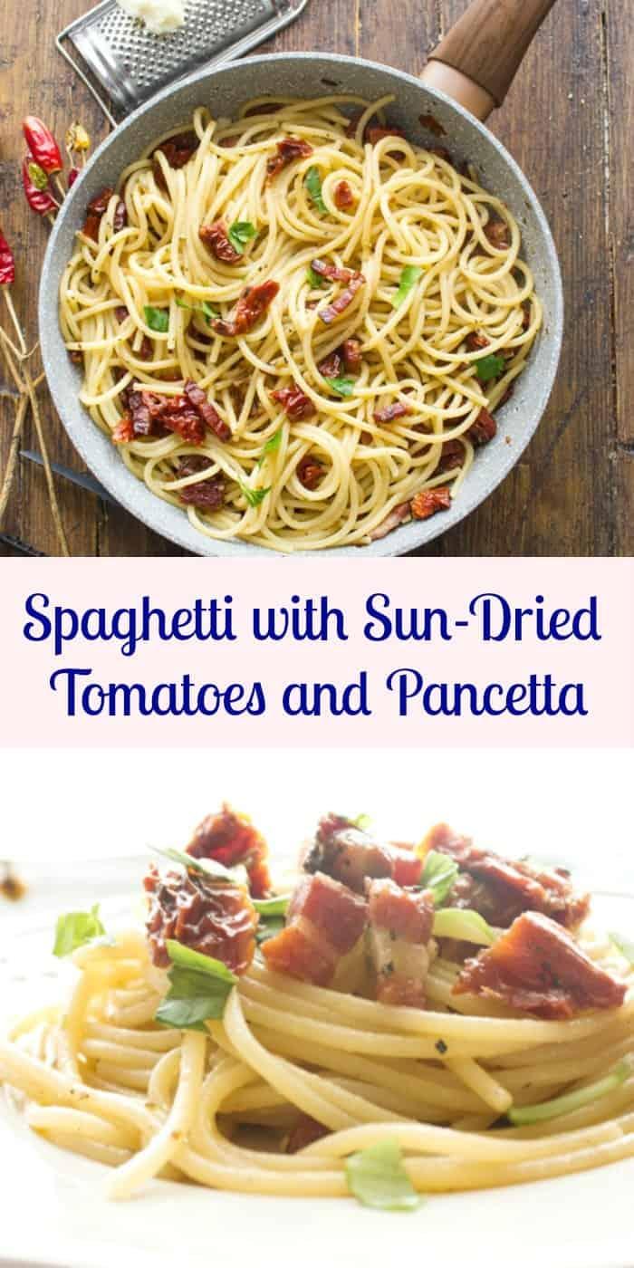 Spaghetti aux tomates séchées au soleil et pancetta, une recette de plat de pâtes italiennes rapide, facile et si savoureuse.  Prêt en 20 minutes.  La combinaison saine parfaite.