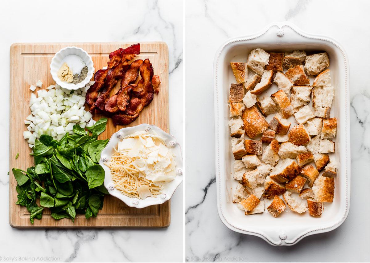 épinards, bacon cuit, parmesan et morceaux de pain déchirés