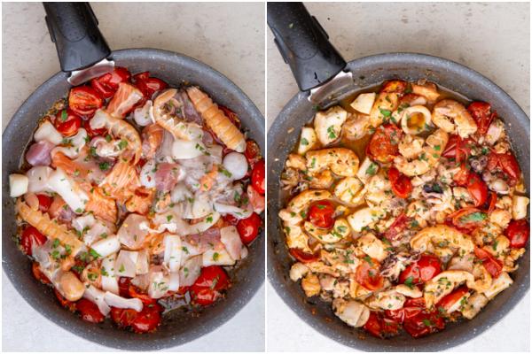 Ajouter les fruits de mer dans la casserole avant et après la cuisson.