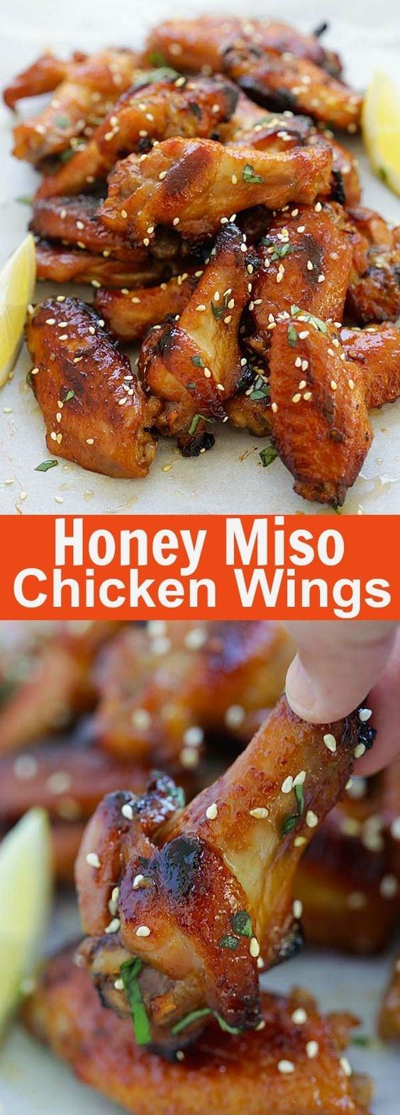 Ailes de poulet au miso au miel - ailes de poulet sucrées et salées à saveur japonaise avec miso et miel.  Tellement bon que tu ne peux pas arrêter de manger |  rasamalaysia.com