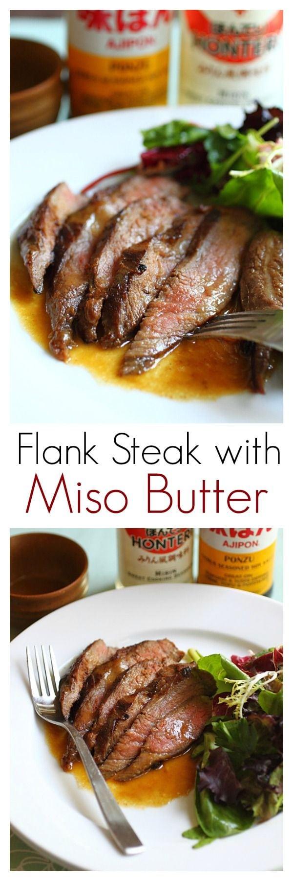 Bifteck de flanc grillé avec marinade de ponzu, miso et beurre.  Cette recette de bifteck de flanc est facile et donne un steak tendre, juteux et savoureux |  rasamalaysia.com