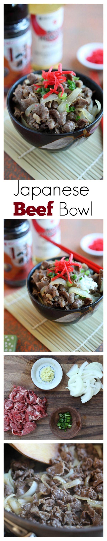 Bol de bœuf japonais Gyudon - bœuf mijoté facile et délicieux avec oignon, sauce soja et riz.  Prend 15 minutes à faire |  rasamalaysia.com