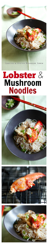 Nouilles au homard et aux champignons - nouilles japonaises faciles et délicieuses aux champignons et au homard.  SLURP!!!  |  rasamalaysia.com
