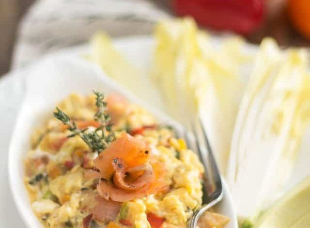 Creamy Scrambled Eggs with Salmon Gravlax