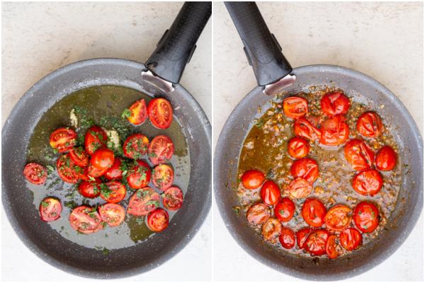 L'huile, l'ail et les tomates dans la poêle avant et après la cuisson.