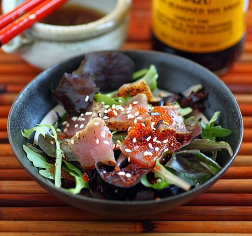 Photo of Salade de thon ahi poêlé avec Mizkan Ponzu