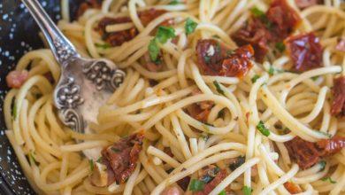 Photo of Pâtes à la pancetta et aux tomates séchées au soleil