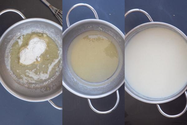 beurre et farine dans la casserole, mélangés jusqu'à ce que la sauce blanche lisse et épaisse dans la casserole.