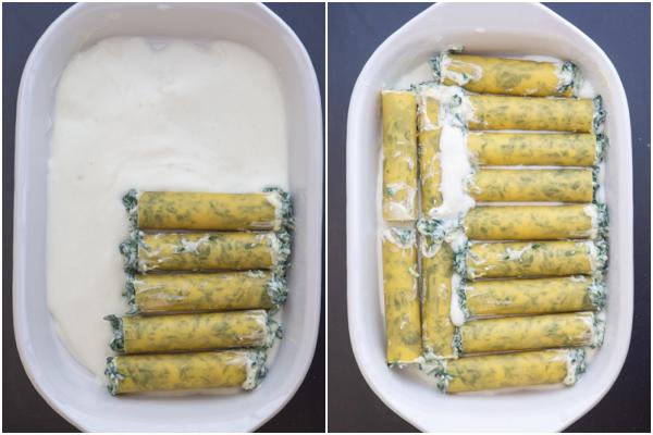 placer les cannellonis dans le plat de cuisson.