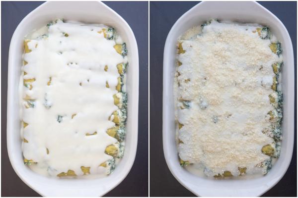 La sauce blanche et le parmesan sur le dessus des cannellonis avant cuisson.
