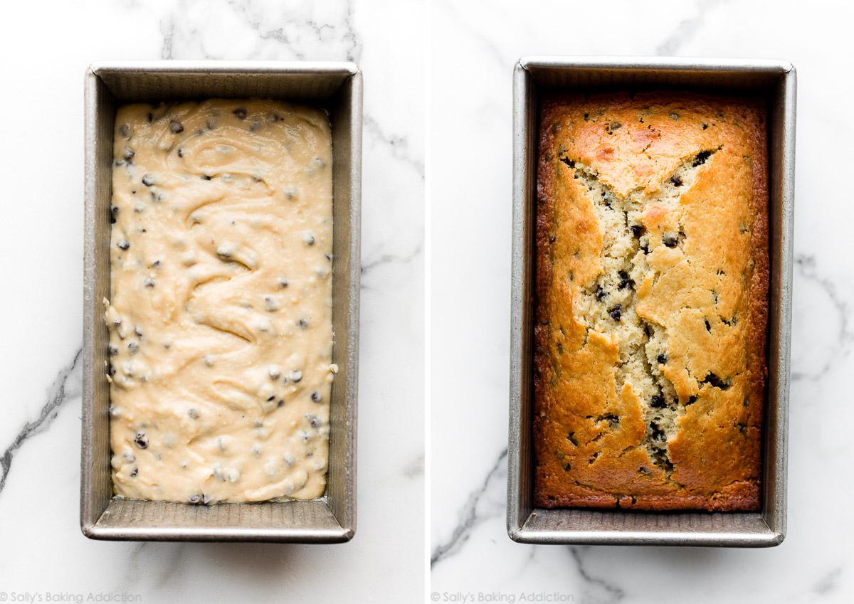 gâteau de pain avant et après la cuisson