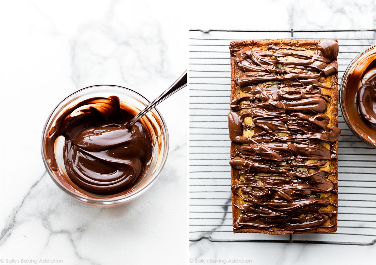 garniture au beurre d'arachide au chocolat dans un bol en verre et sur un gâteau au pain