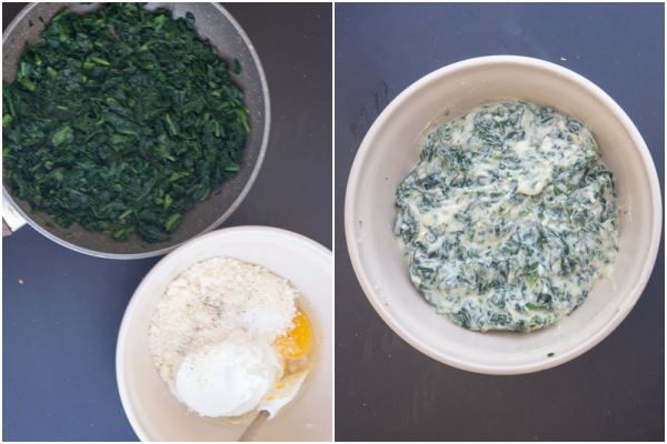 Ricotta cuite dans une poêle et mélange de ricotta dans un bol blanc.