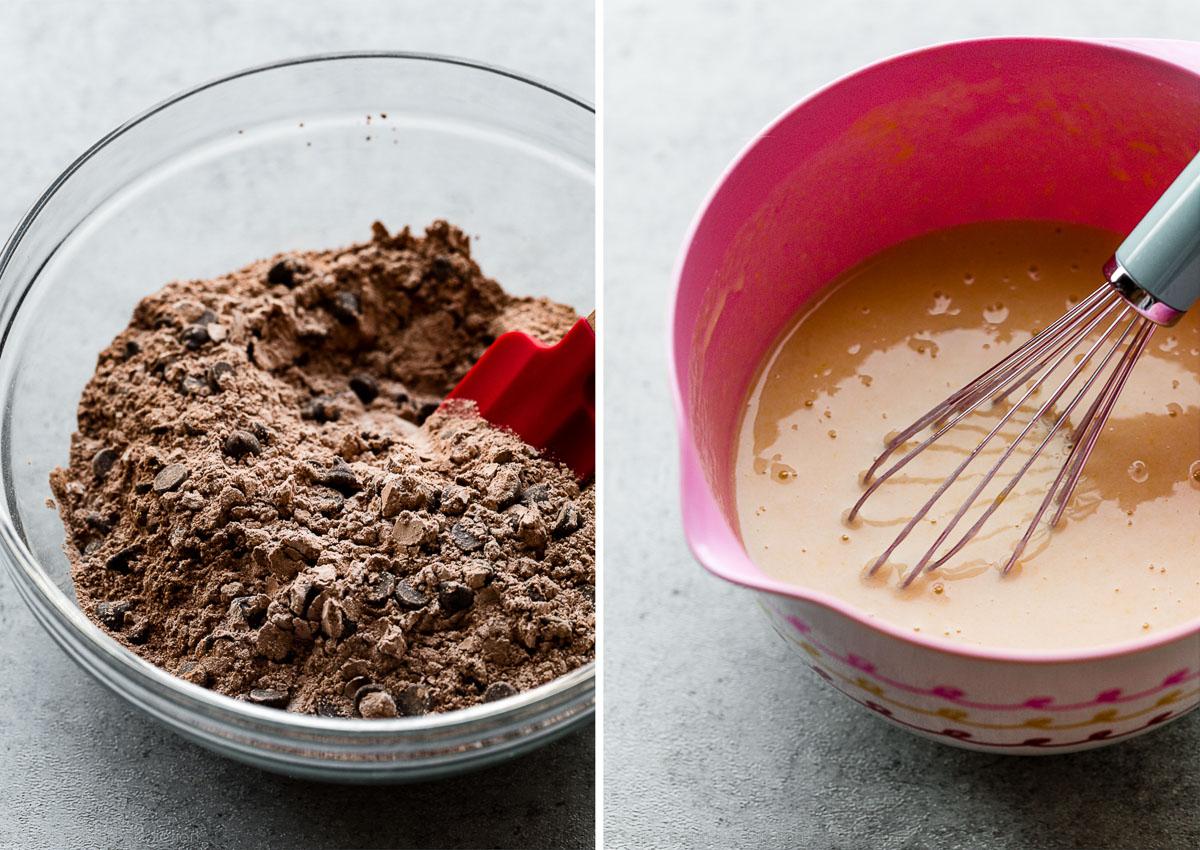 ingrédients secs dans un bol en verre et ingrédients humides dans un bol rose